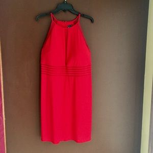 Bright Red Dress with Sheer Panels, 16W